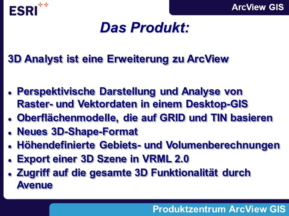 ArcView GIS Produktzentrum ArcView GIS Das Produkt: 3D Analyst ist eine Erweiterung zu ArcView Perspektivische Darstellung und Analyse von Raster- und Vektordaten in einem Desktop-GIS Perspektivische Darstellung und Analyse von Raster- und Vektordaten in einem Desktop-GIS Oberflächenmodelle, die auf GRID und TIN basieren Oberflächenmodelle, die auf GRID und TIN basieren Neues 3D-Shape-Format Neues 3D-Shape-Format Höhendefinierte Gebiets- und Volumenberechnungen Höhendefinierte Gebiets- und Volumenberechnungen Export einer 3D Szene in VRML 2.0 Export einer 3D Szene in VRML 2.0 Zugriff auf die gesamte 3D Funktionalität durch Avenue Zugriff auf die gesamte 3D Funktionalität durch Avenue 3D Analyst ist eine Erweiterung zu ArcView Perspektivische Darstellung und Analyse von Raster- und Vektordaten in einem Desktop-GIS Perspektivische Darstellung und Analyse von Raster- und Vektordaten in einem Desktop-GIS Oberflächenmodelle, die auf GRID und TIN basieren Oberflächenmodelle, die auf GRID und TIN basieren Neues 3D-Shape-Format Neues 3D-Shape-Format Höhendefinierte Gebiets- und Volumenberechnungen Höhendefinierte Gebiets- und Volumenberechnungen Export einer 3D Szene in VRML 2.0 Export einer 3D Szene in VRML 2.0 Zugriff auf die gesamte 3D Funktionalität durch Avenue Zugriff auf die gesamte 3D Funktionalität durch Avenue