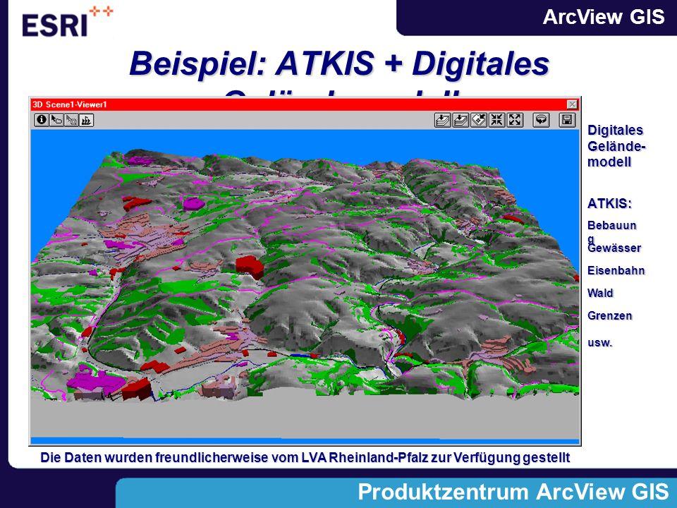 ArcView GIS Produktzentrum ArcView GIS Beispiel: ATKIS + Digitales Geländemodell Digitales Gelände- modell ATKIS: Wald Grenzen usw.