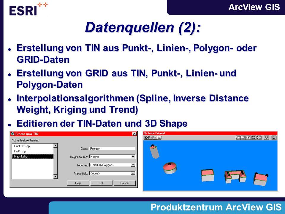 ArcView GIS Produktzentrum ArcView GIS Datenquellen (2): Erstellung von TIN aus Punkt-, Linien-, Polygon- oder GRID-Daten Erstellung von TIN aus Punkt-, Linien-, Polygon- oder GRID-Daten Erstellung von GRID aus TIN, Punkt-, Linien- und Polygon-Daten Erstellung von GRID aus TIN, Punkt-, Linien- und Polygon-Daten Interpolationsalgorithmen (Spline, Inverse Distance Weight, Kriging und Trend) Interpolationsalgorithmen (Spline, Inverse Distance Weight, Kriging und Trend) Editieren der TIN-Daten und 3D Shape Editieren der TIN-Daten und 3D Shape