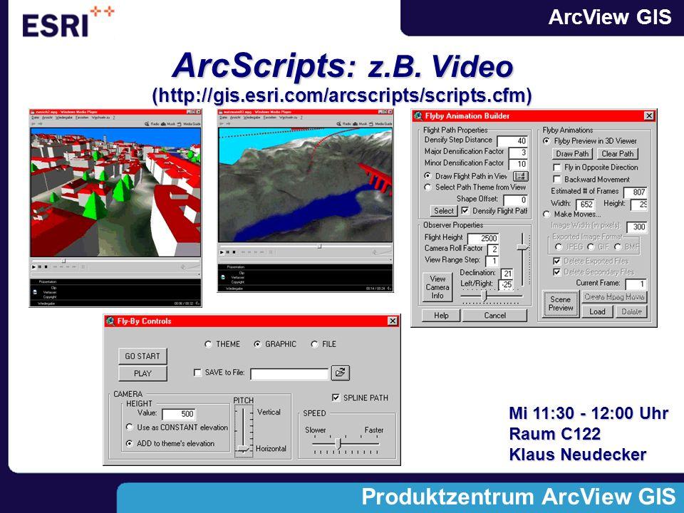 ArcView GIS Produktzentrum ArcView GIS ArcScripts : z.B.