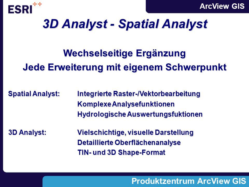 ArcView GIS Produktzentrum ArcView GIS 3D Analyst - Spatial Analyst Wechselseitige Ergänzung Jede Erweiterung mit eigenem Schwerpunkt Spatial Analyst: Integrierte Raster-/Vektorbearbeitung Spatial Analyst: Integrierte Raster-/Vektorbearbeitung Komplexe Analysefunktionen Hydrologische Auswertungsfuktionen 3D Analyst:Vielschichtige, visuelle Darstellung 3D Analyst:Vielschichtige, visuelle Darstellung Detaillierte Oberflächenanalyse TIN- und 3D Shape-Format