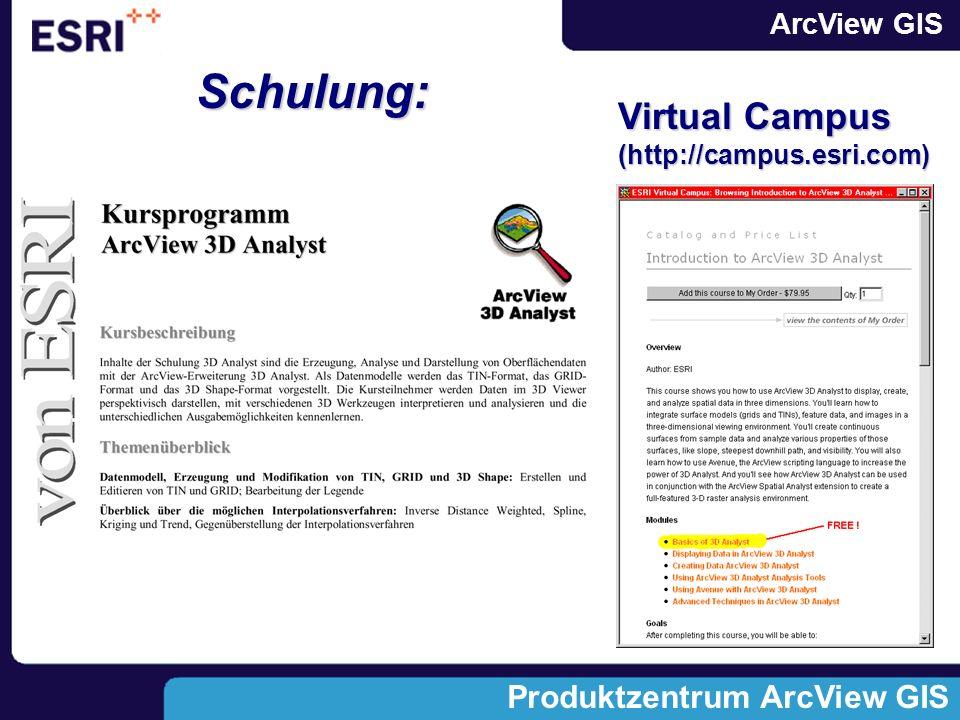 ArcView GIS Produktzentrum ArcView GIS Schulung: Virtual Campus (http://campus.esri.com)