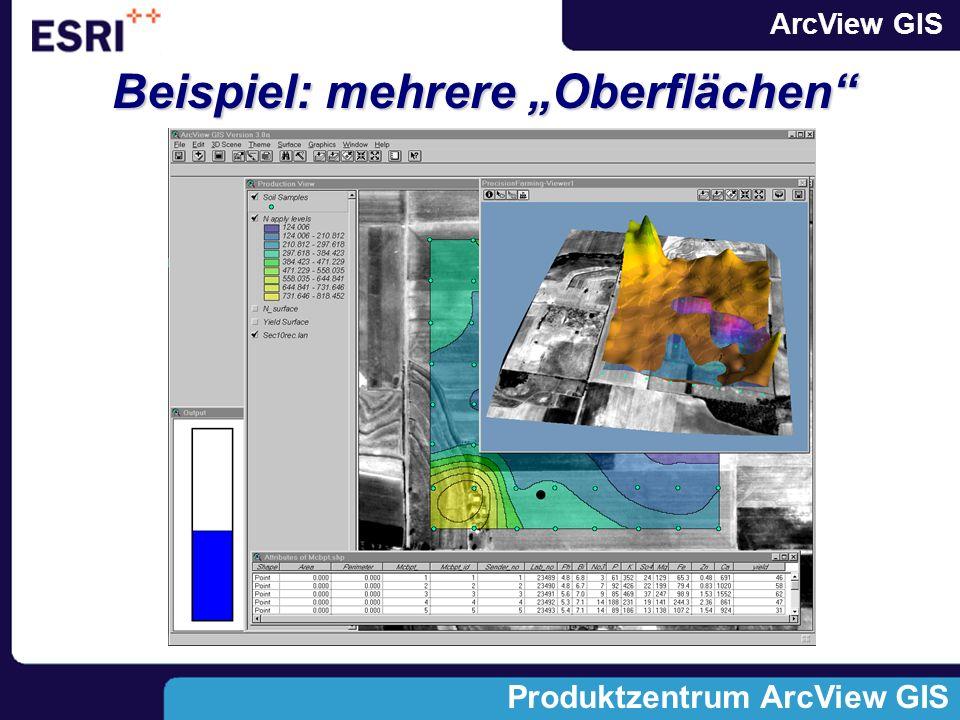ArcView GIS Produktzentrum ArcView GIS Beispiel: mehrere Oberflächen