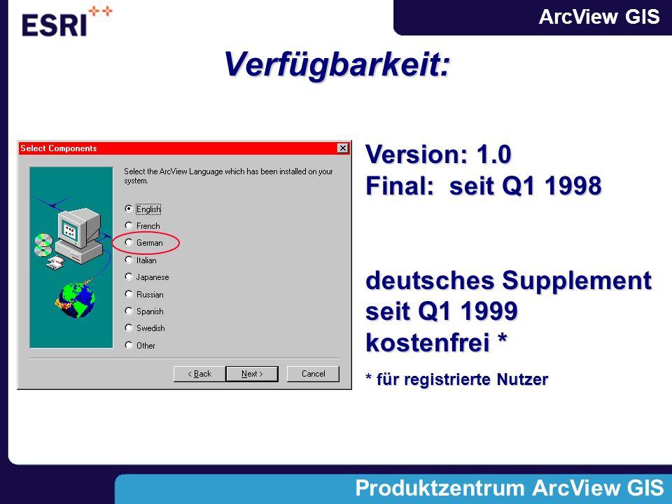 ArcView GIS Produktzentrum ArcView GIS Verfügbarkeit: Version: 1.0 Final: seit Q1 1998 deutsches Supplement seit Q1 1999 kostenfrei * * für registrierte Nutzer