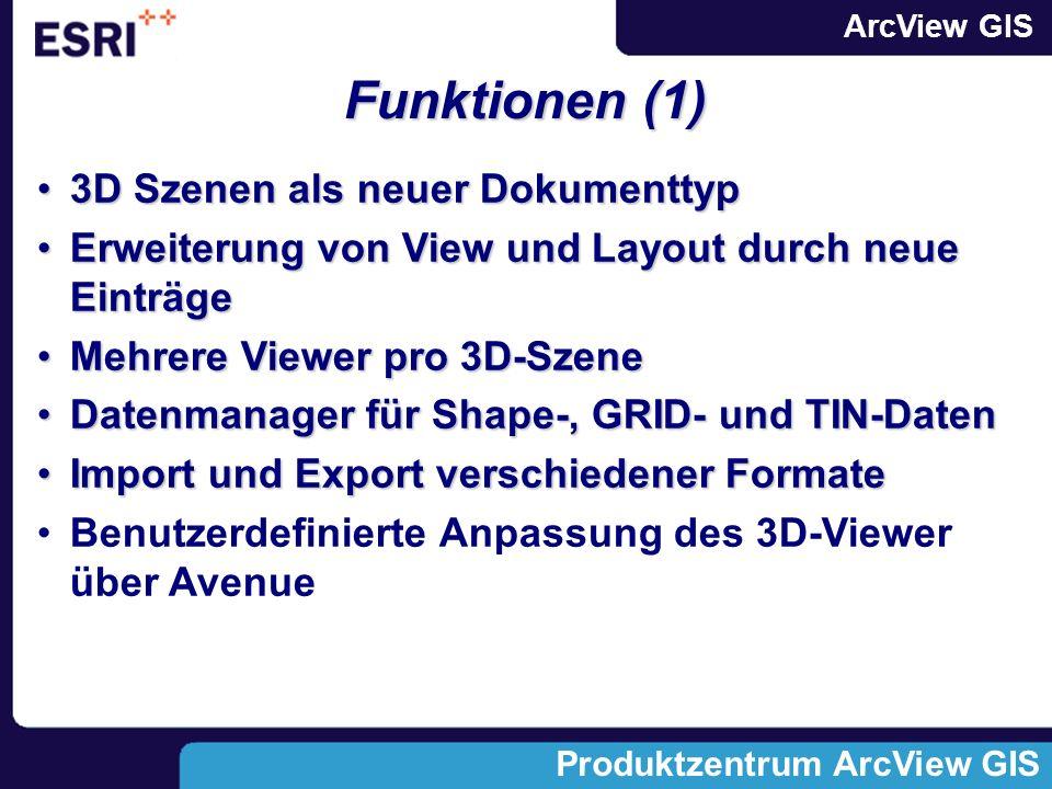 ArcView GIS Produktzentrum ArcView GIS Neuer Dokumenttyp: 3D-Szenen Die Daten wurden freundlicherweise von der Nationparkverwaltung Berchtesgaden zur Verfügung gestellt 3D-Viewer