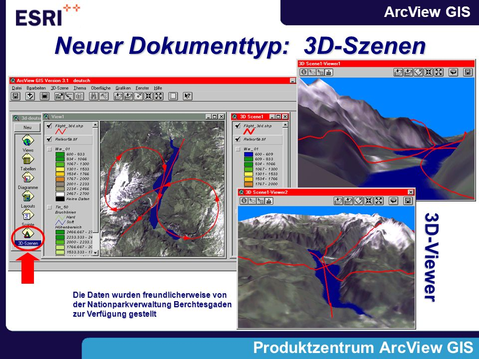 ArcView GIS Produktzentrum ArcView GIS Neue Menüs, Buttons, Tools (GUI):