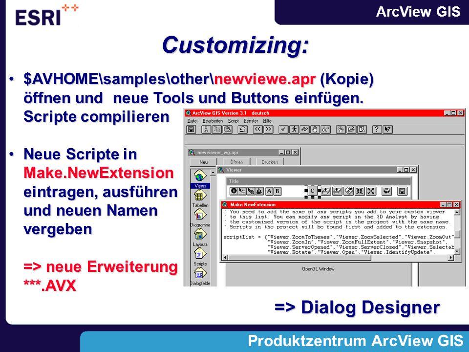 ArcView GIS Produktzentrum ArcView GIS Customizing: $AVHOME\samples\other\newviewe.apr (Kopie) öffnen und neue Tools und Buttons einfügen.