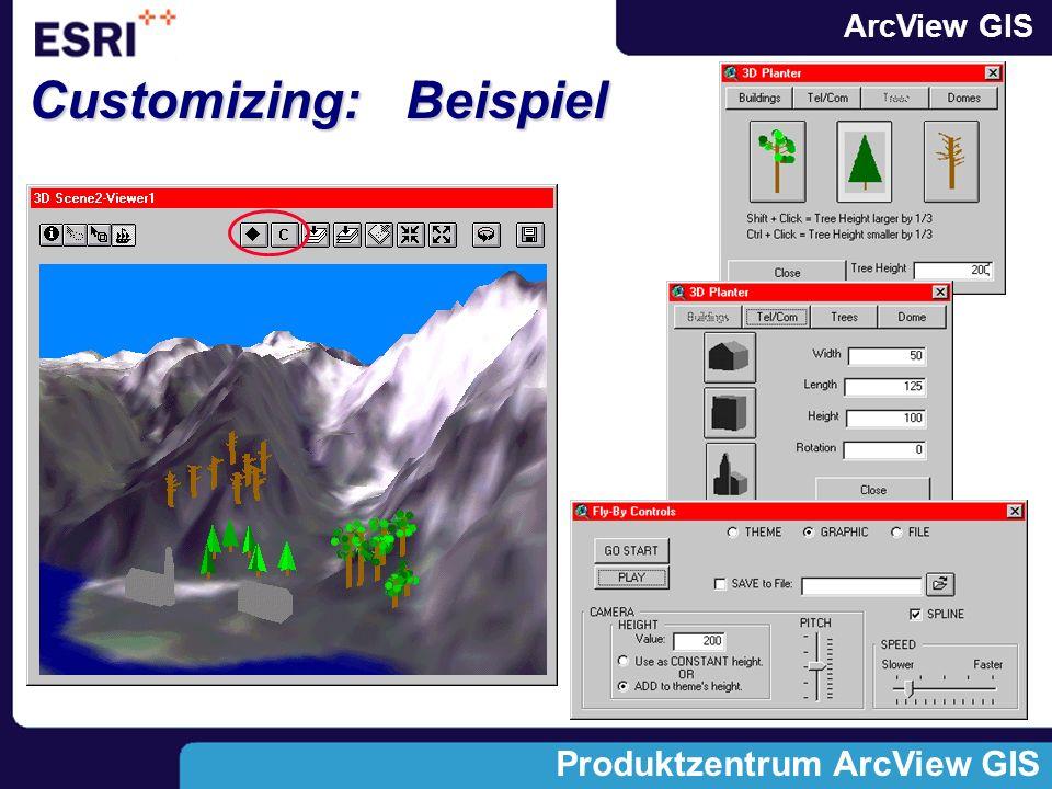 ArcView GIS Produktzentrum ArcView GIS Beispiel: dynamisch verlinkte Szenen