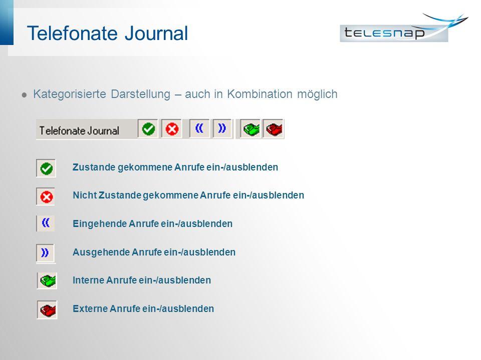 Telefonate Journal Kategorisierte Darstellung – auch in Kombination möglich Zustande gekommene Anrufe ein-/ausblenden Nicht Zustande gekommene Anrufe
