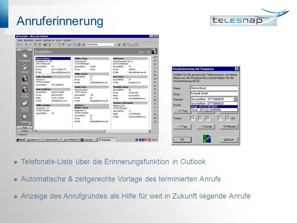 Anruferinnerung Telefonate-Liste über die Erinnerungsfunktion in Outlook Automatische & zeitgerechte Vorlage des terminierten Anrufs Anzeige des Anruf