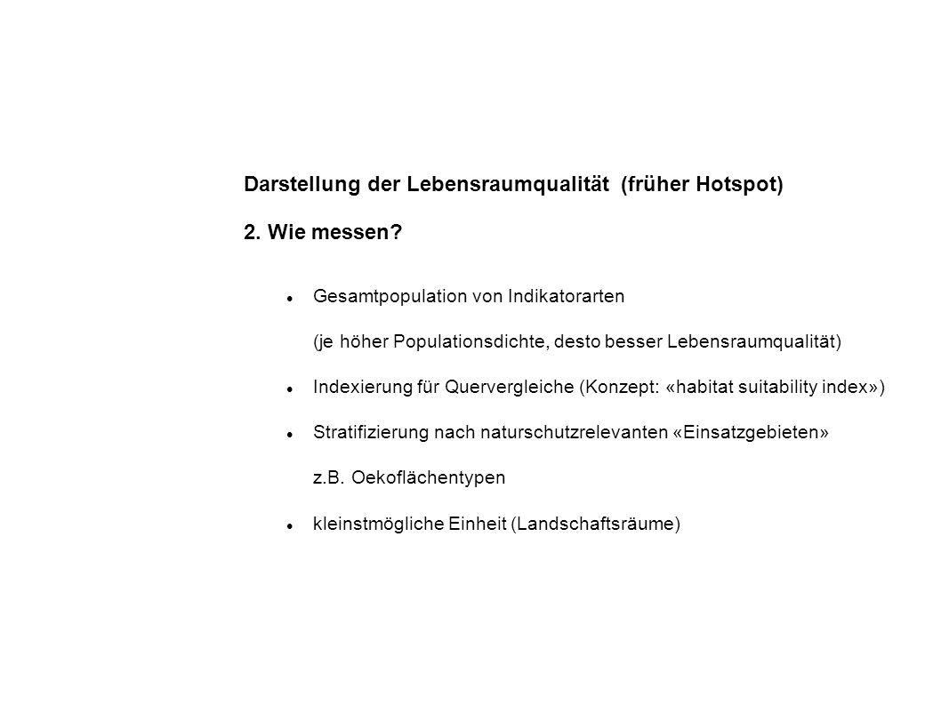 Darstellung der Lebensraumqualität (früher Hotspot) 2.