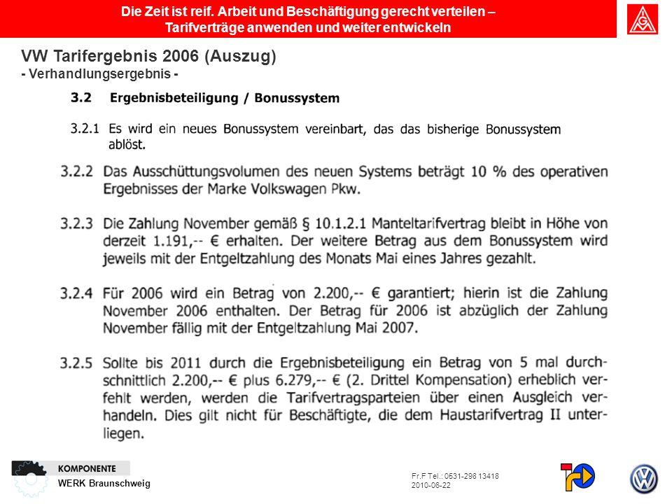 WERK Braunschweig Die Zeit ist reif. Arbeit und Beschäftigung gerecht verteilen – Tarifverträge anwenden und weiter entwickeln VW Tarifergebnis 2006 (