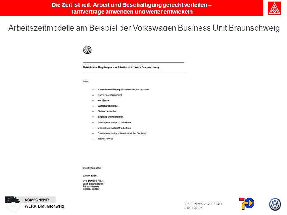 WERK Braunschweig Die Zeit ist reif. Arbeit und Beschäftigung gerecht verteilen – Tarifverträge anwenden und weiter entwickeln Arbeitszeitmodelle am B