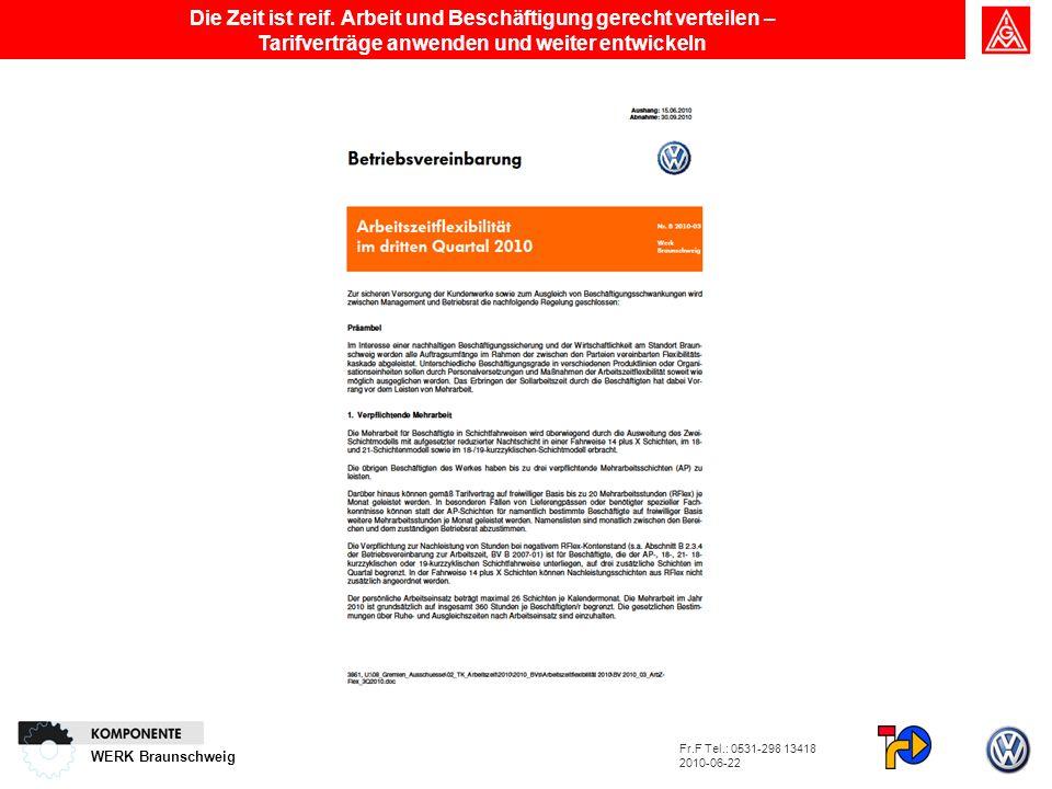 WERK Braunschweig Die Zeit ist reif. Arbeit und Beschäftigung gerecht verteilen – Tarifverträge anwenden und weiter entwickeln Fr.F Tel.: 0531-298 134