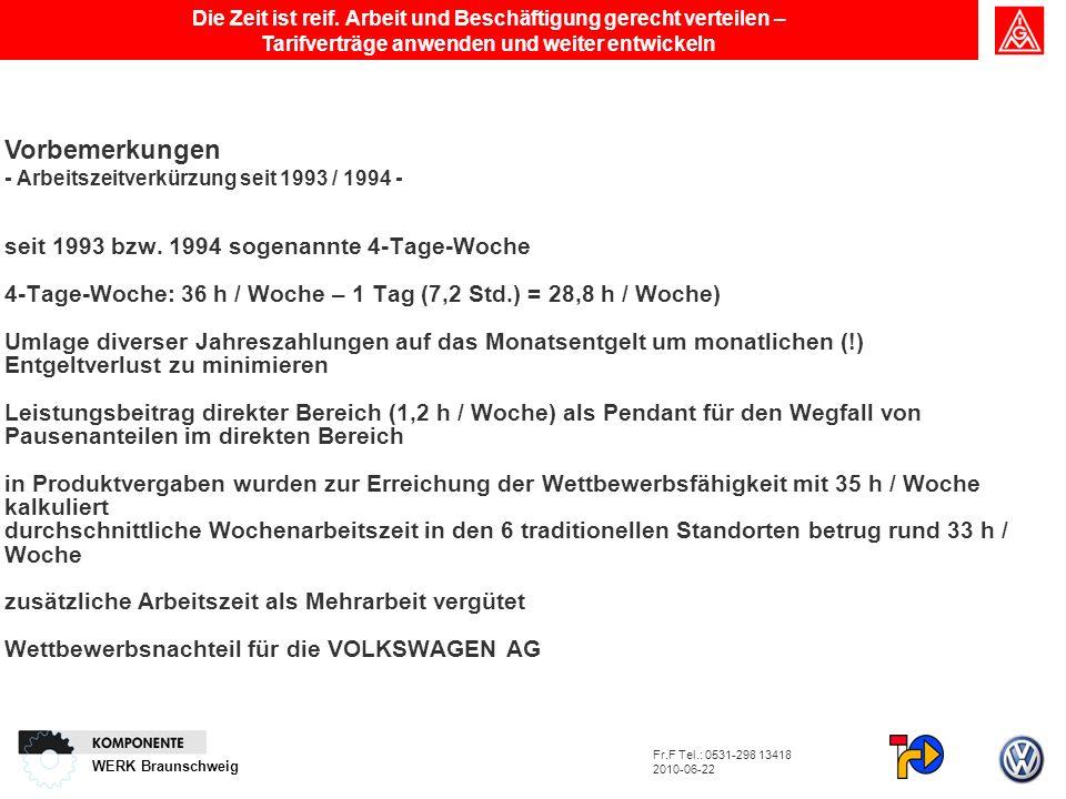 WERK Braunschweig Vorbemerkungen - Arbeitszeitverkürzung seit 1993 / 1994 - seit 1993 bzw. 1994 sogenannte 4-Tage-Woche 4-Tage-Woche: 36 h / Woche – 1