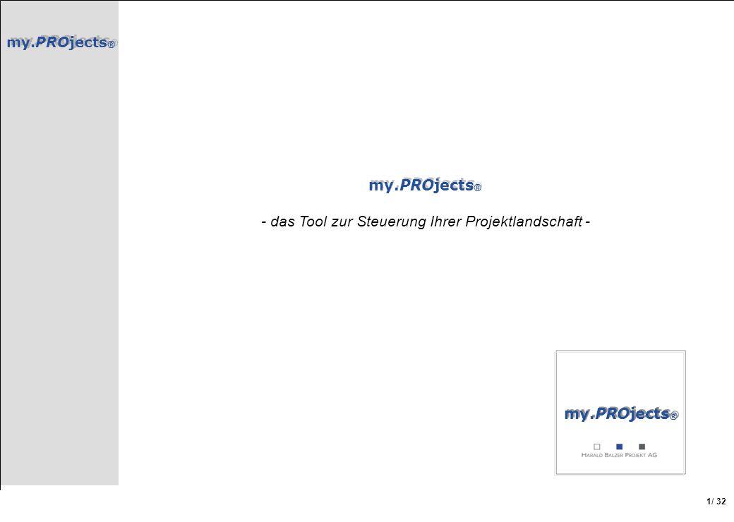 my.PROjects ® / 32 1 my.PROjects ® - das Tool zur Steuerung Ihrer Projektlandschaft - my.PROjects ®