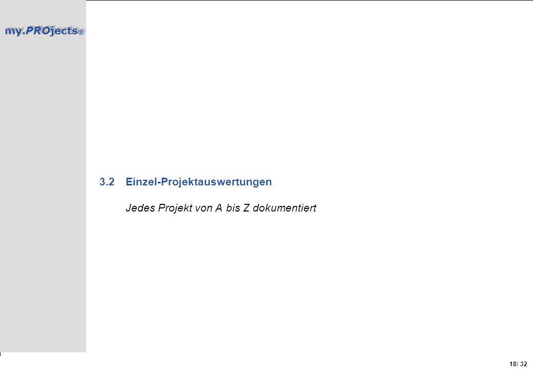 my.PROjects ® / 32 18 3.2Einzel-Projektauswertungen Jedes Projekt von A bis Z dokumentiert
