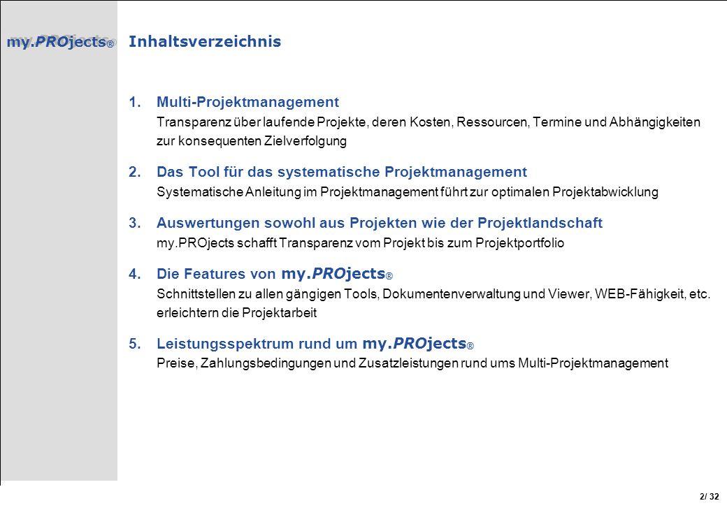/ 32 2 Inhaltsverzeichnis 1.Multi-Projektmanagement Transparenz über laufende Projekte, deren Kosten, Ressourcen, Termine und Abhängigkeiten zur konse