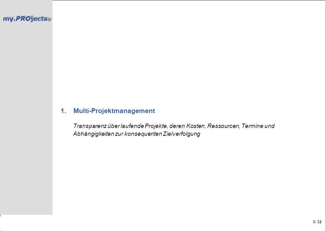 my.PROjects ® / 32 3 1.Multi-Projektmanagement Transparenz über laufende Projekte, deren Kosten, Ressourcen, Termine und Abhängigkeiten zur konsequent