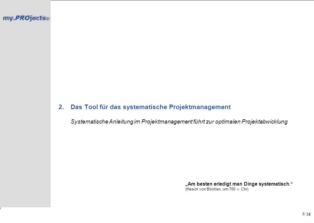 my.PROjects ® / 32 7 2.Das Tool für das systematische Projektmanagement Systematische Anleitung im Projektmanagement führt zur optimalen Projektabwick