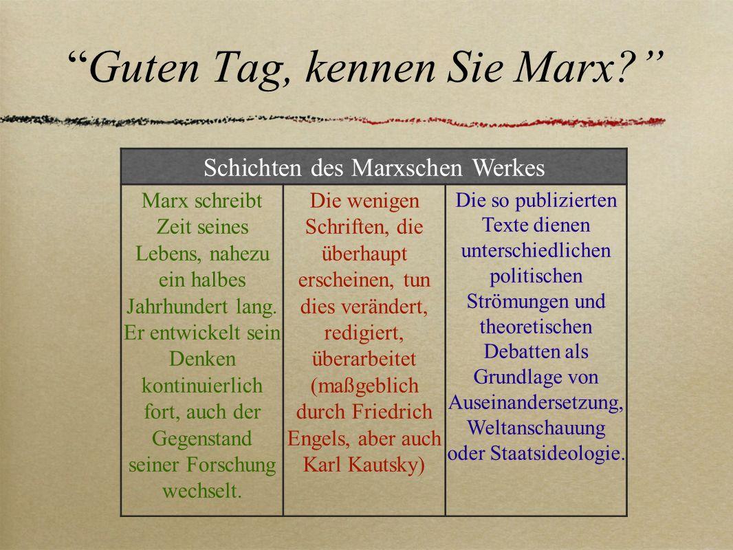 Guten Tag, kennen Sie Marx? Schichten des Marxschen Werkes Marx schreibt Zeit seines Lebens, nahezu ein halbes Jahrhundert lang. Er entwickelt sein De