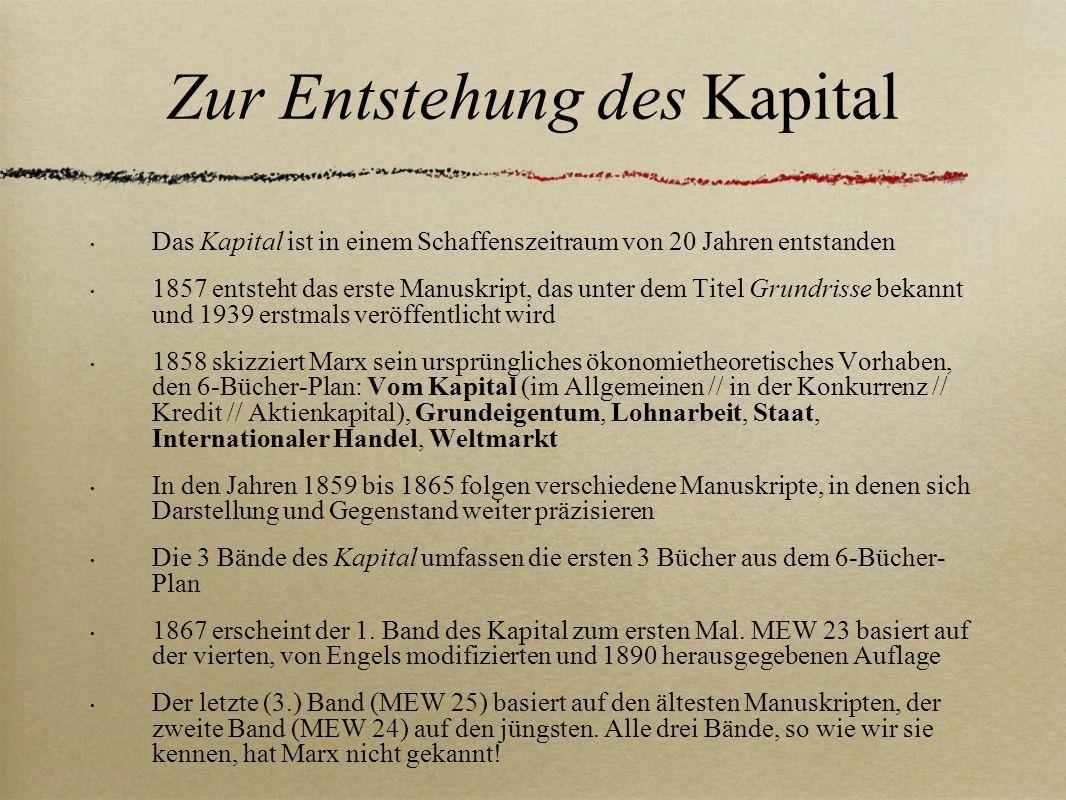 Zur Entstehung des Kapital Das Kapital ist in einem Schaffenszeitraum von 20 Jahren entstanden 1857 entsteht das erste Manuskript, das unter dem Titel