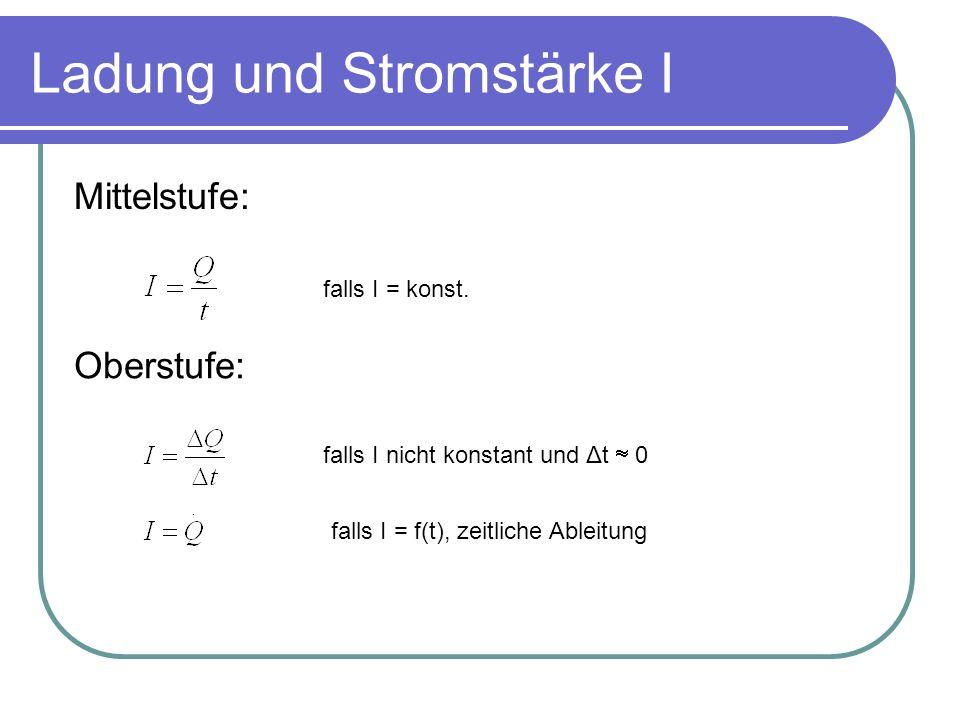 Ladung und Stromstärke I Mittelstufe: falls I = konst. falls I nicht konstant und Δt 0 falls I = f(t), zeitliche Ableitung Oberstufe: