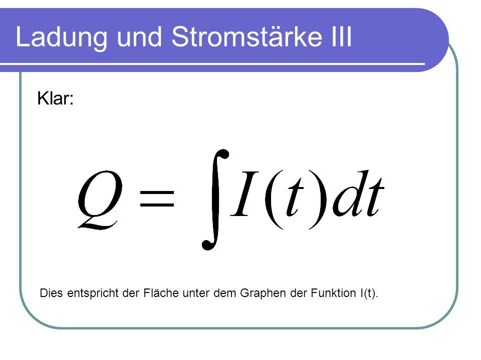 Ladung und Stromstärke III Klar: Dies entspricht der Fläche unter dem Graphen der Funktion I(t).
