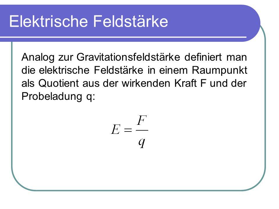 Elektrische Feldstärke Analog zur Gravitationsfeldstärke definiert man die elektrische Feldstärke in einem Raumpunkt als Quotient aus der wirkenden Kr