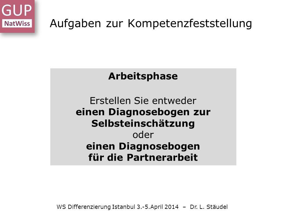 Aufgaben zur Kompetenzfeststellung WS Differenzierung Istanbul 3.-5.April 2014 – Dr.
