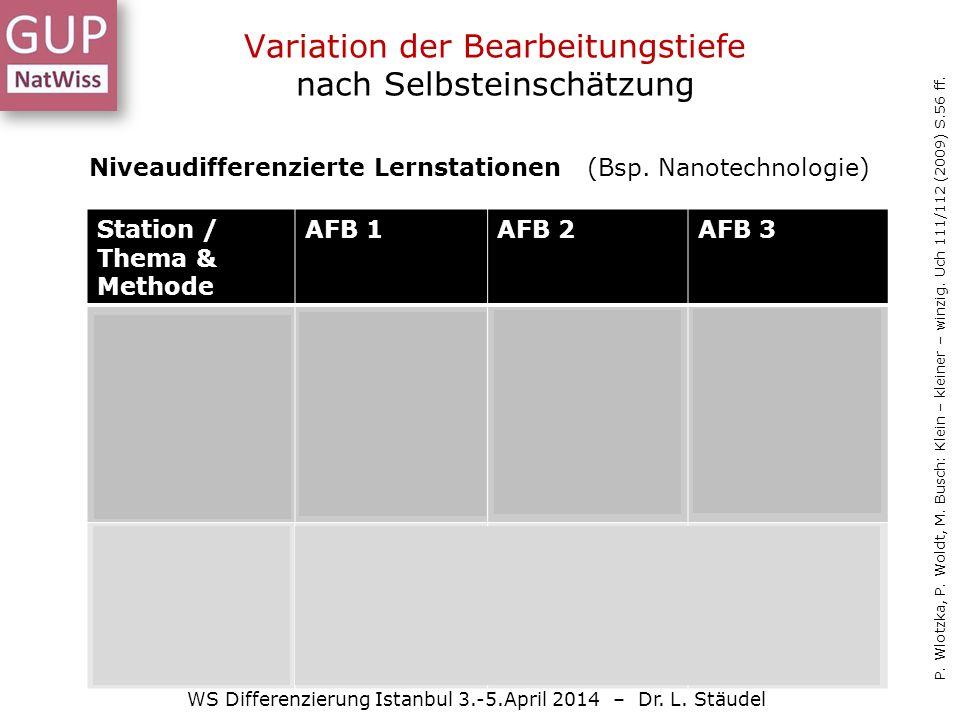 Variation der Bearbeitungstiefe nach Selbsteinschätzung WS Differenzierung Istanbul 3.-5.April 2014 – Dr.