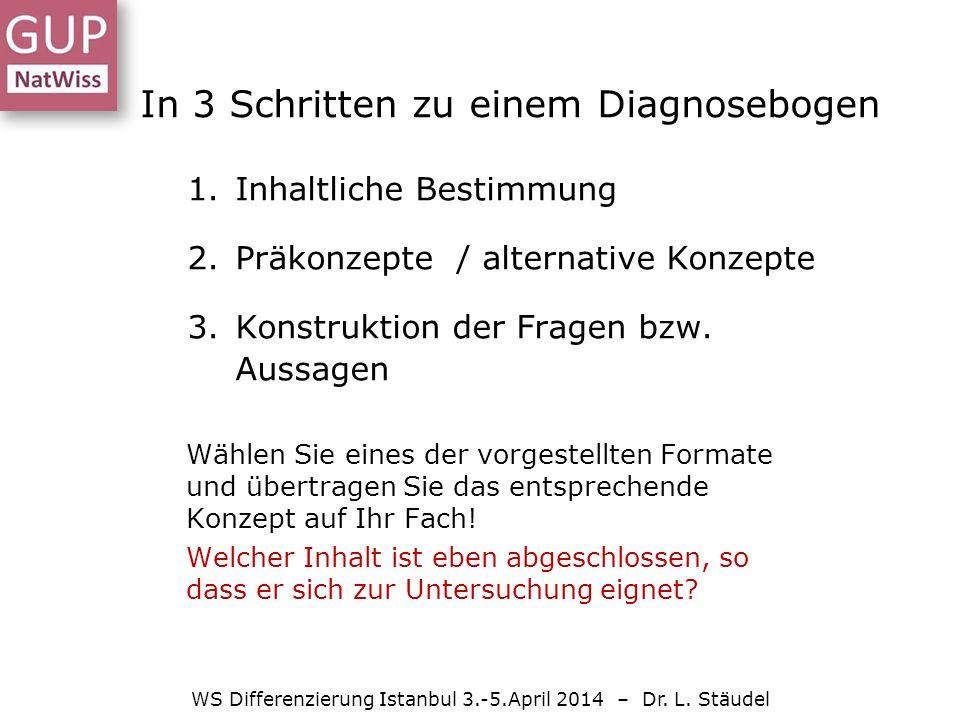 In 3 Schritten zu einem Diagnosebogen 1.Inhaltliche Bestimmung 2.Präkonzepte / alternative Konzepte 3.Konstruktion der Fragen bzw.