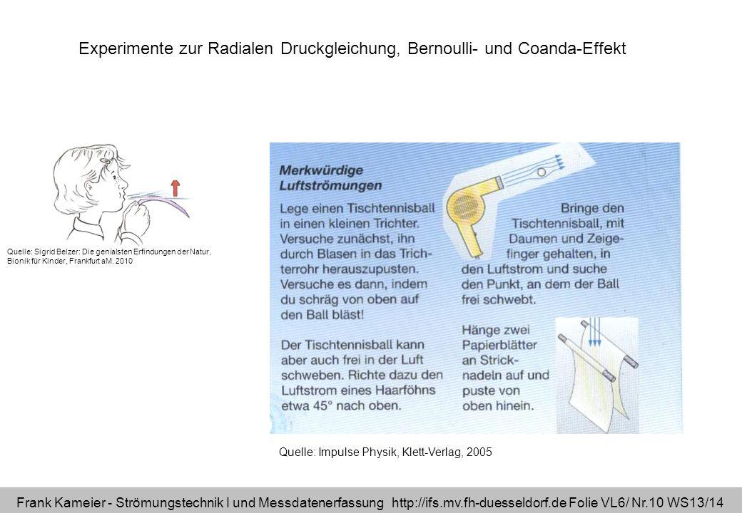 Frank Kameier - Strömungstechnik I und Messdatenerfassung http://ifs.mv.fh-duesseldorf.de Folie VL6/ Nr.10 WS13/14 Experimente zur Radialen Druckgleic