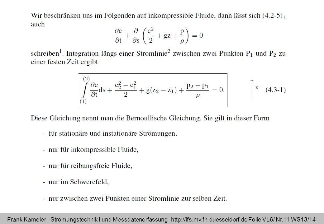 Frank Kameier - Strömungstechnik I und Messdatenerfassung http://ifs.mv.fh-duesseldorf.de Folie VL6/ Nr.11 WS13/14