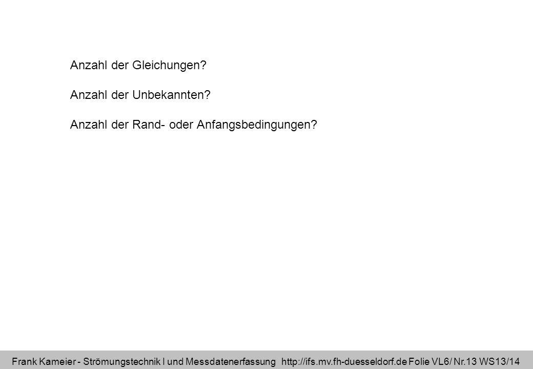 Frank Kameier - Strömungstechnik I und Messdatenerfassung http://ifs.mv.fh-duesseldorf.de Folie VL6/ Nr.13 WS13/14 Anzahl der Gleichungen? Anzahl der