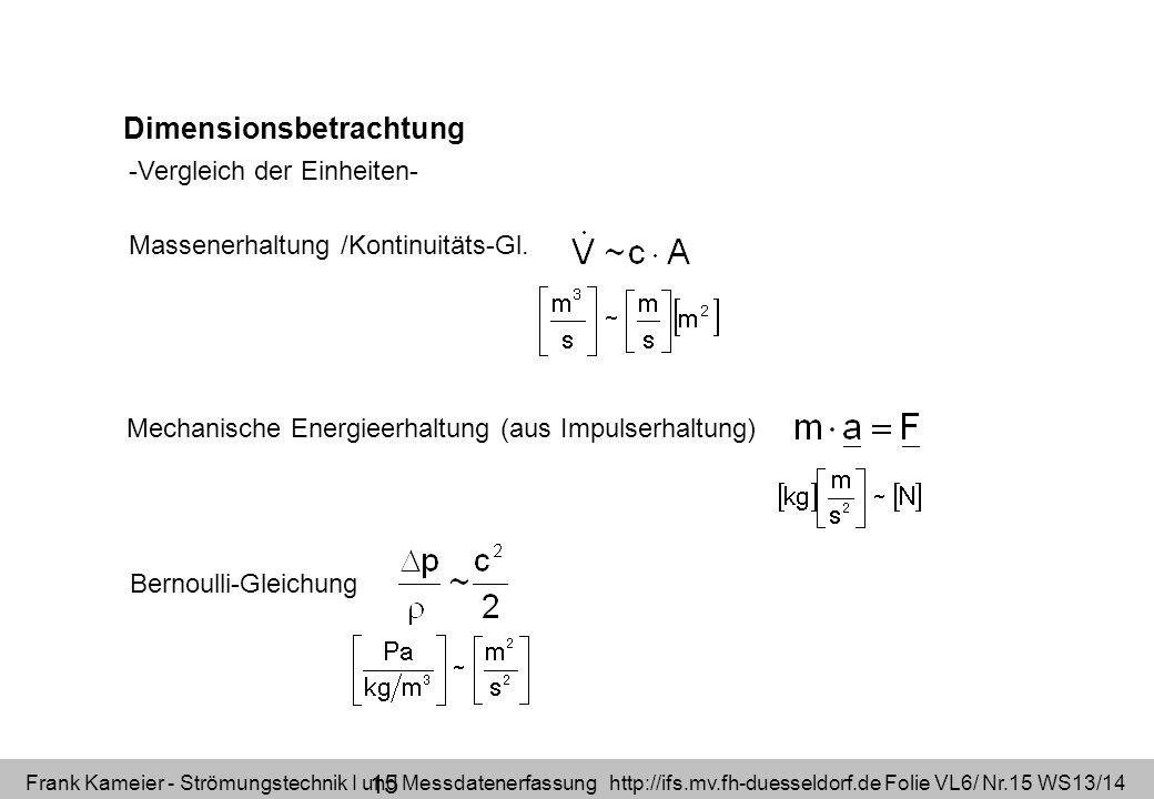 Frank Kameier - Strömungstechnik I und Messdatenerfassung http://ifs.mv.fh-duesseldorf.de Folie VL6/ Nr.15 WS13/14 Dimensionsbetrachtung Massenerhaltu
