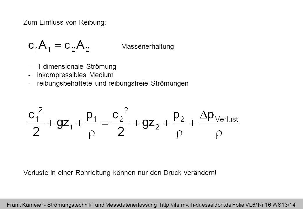 Frank Kameier - Strömungstechnik I und Messdatenerfassung http://ifs.mv.fh-duesseldorf.de Folie VL6/ Nr.16 WS13/14 Zum Einfluss von Reibung: -1-dimens