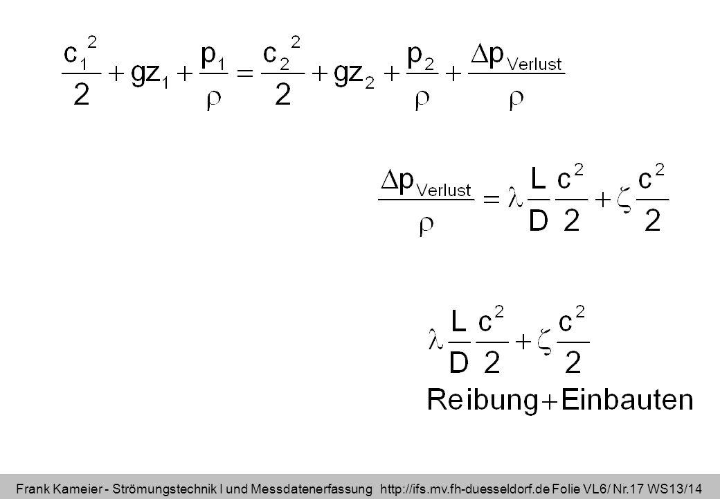 Frank Kameier - Strömungstechnik I und Messdatenerfassung http://ifs.mv.fh-duesseldorf.de Folie VL6/ Nr.17 WS13/14