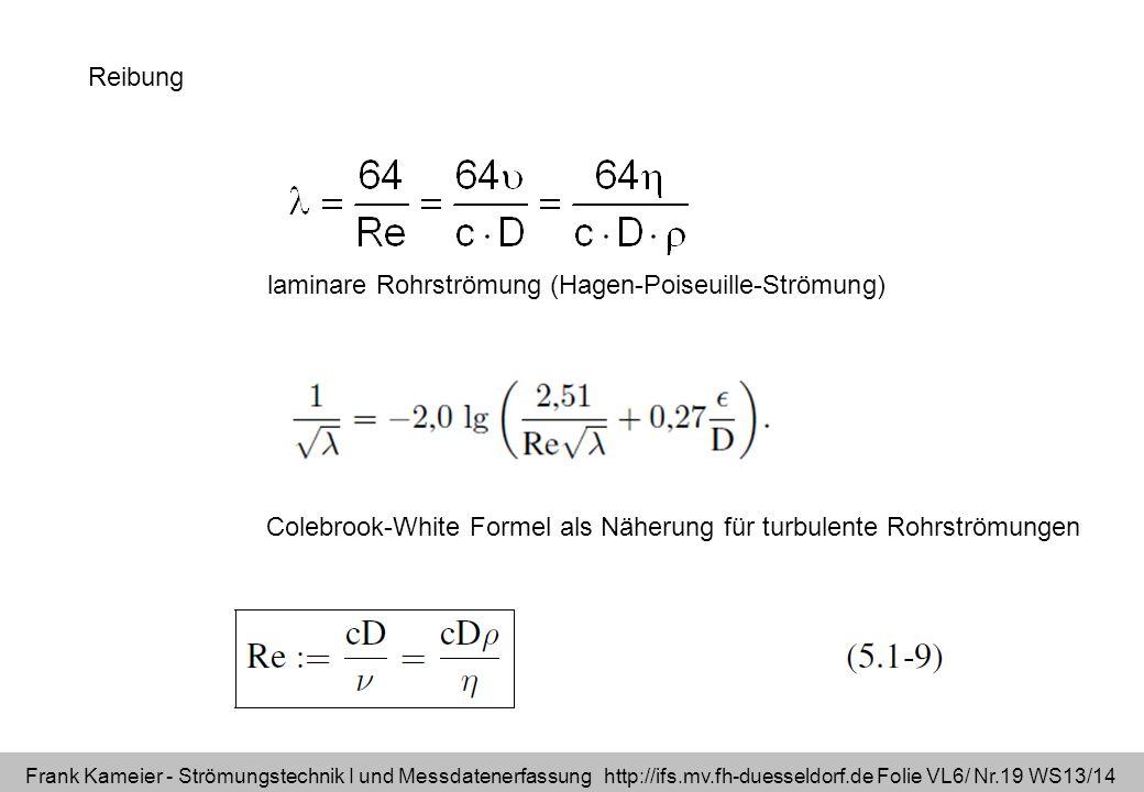 Frank Kameier - Strömungstechnik I und Messdatenerfassung http://ifs.mv.fh-duesseldorf.de Folie VL6/ Nr.19 WS13/14 Reibung Colebrook-White Formel als