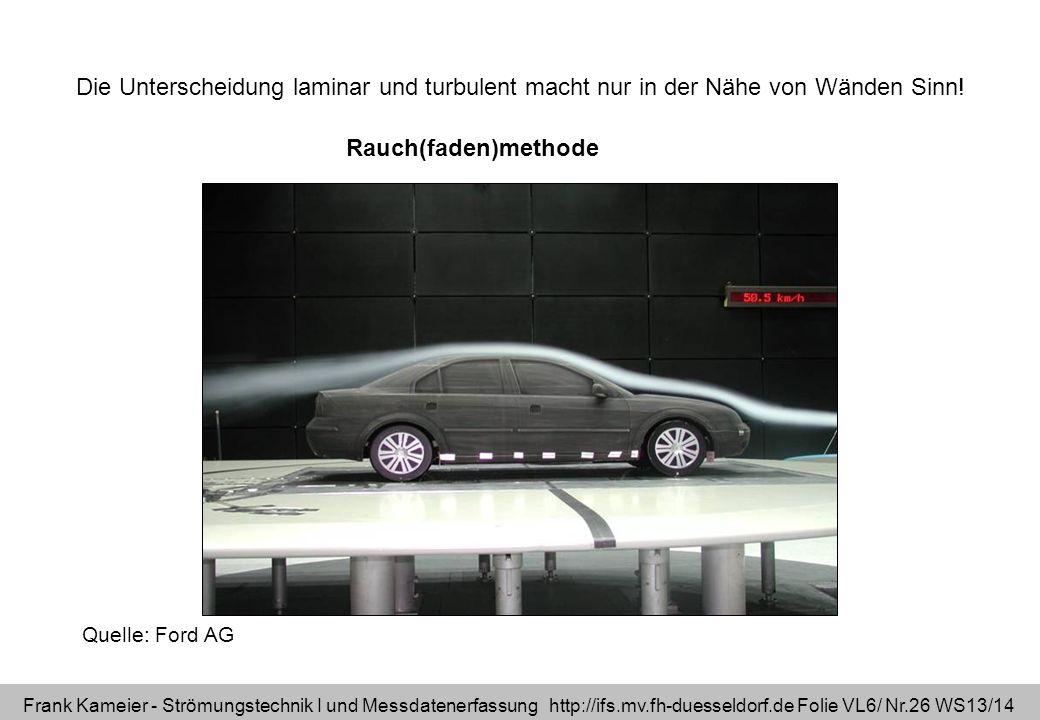 Frank Kameier - Strömungstechnik I und Messdatenerfassung http://ifs.mv.fh-duesseldorf.de Folie VL6/ Nr.26 WS13/14 Rauch(faden)methode Quelle: Ford AG