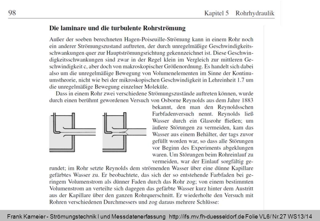 Frank Kameier - Strömungstechnik I und Messdatenerfassung http://ifs.mv.fh-duesseldorf.de Folie VL6/ Nr.27 WS13/14