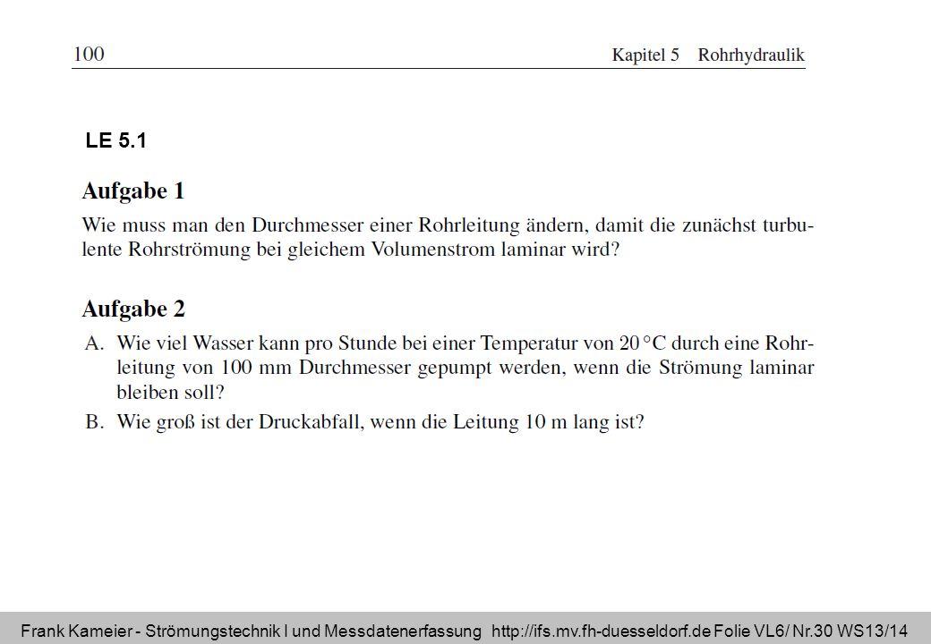 Frank Kameier - Strömungstechnik I und Messdatenerfassung http://ifs.mv.fh-duesseldorf.de Folie VL6/ Nr.30 WS13/14 LE 5.1