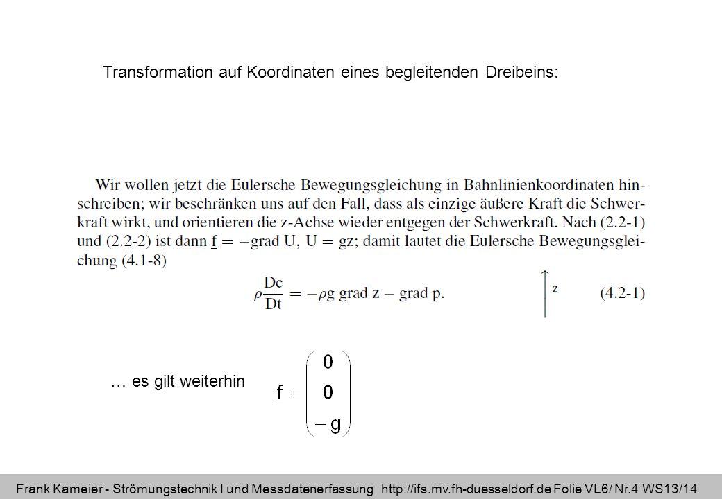 Frank Kameier - Strömungstechnik I und Messdatenerfassung http://ifs.mv.fh-duesseldorf.de Folie VL6/ Nr.4 WS13/14 Transformation auf Koordinaten eines