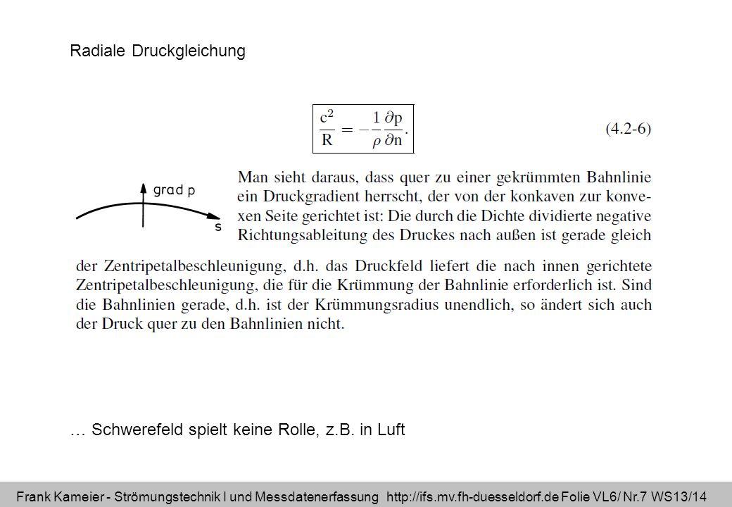 Frank Kameier - Strömungstechnik I und Messdatenerfassung http://ifs.mv.fh-duesseldorf.de Folie VL6/ Nr.8 WS13/14 Stromlinienkrümmung - radiale Druckgleichung Quelle: WDR, Quarks, 6/1999, http://www.quarks.de/fliegen2/00.htm Profil wird nach oben gesaugt R r prinzip.AVI R= Krümmungsradius r= Laufvariable