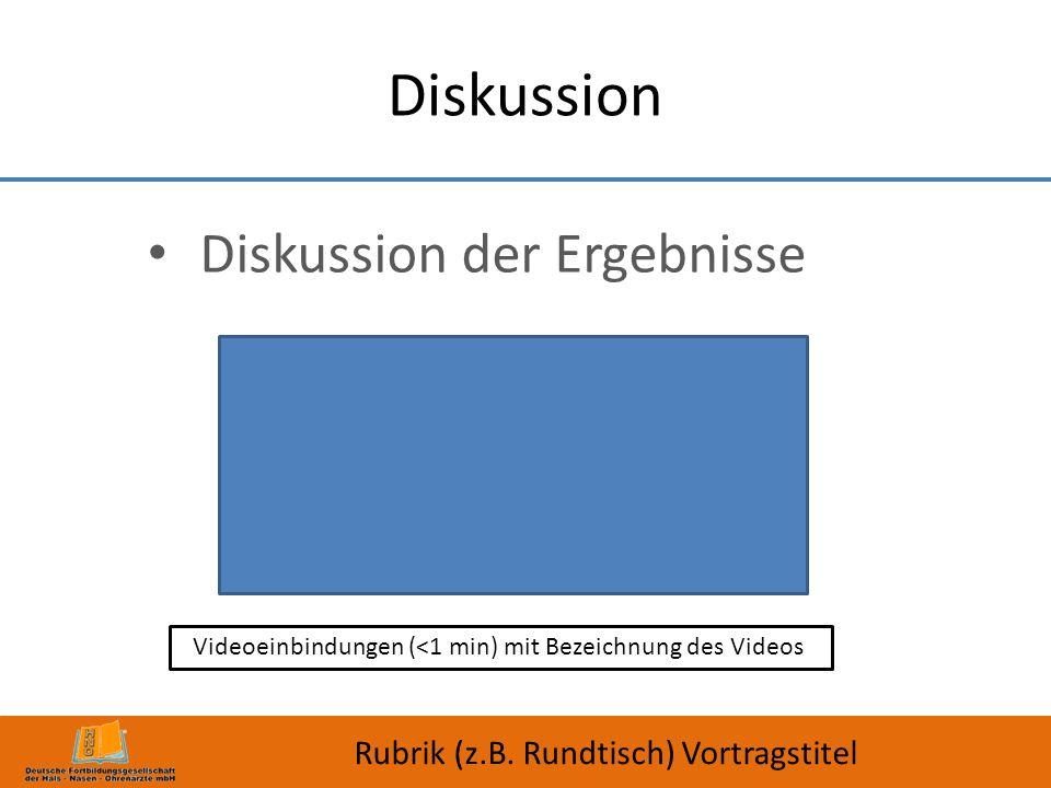 Diskussion Diskussion der Ergebnisse Rubrik (z.B. Rundtisch) Vortragstitel Videoeinbindungen (<1 min) mit Bezeichnung des Videos