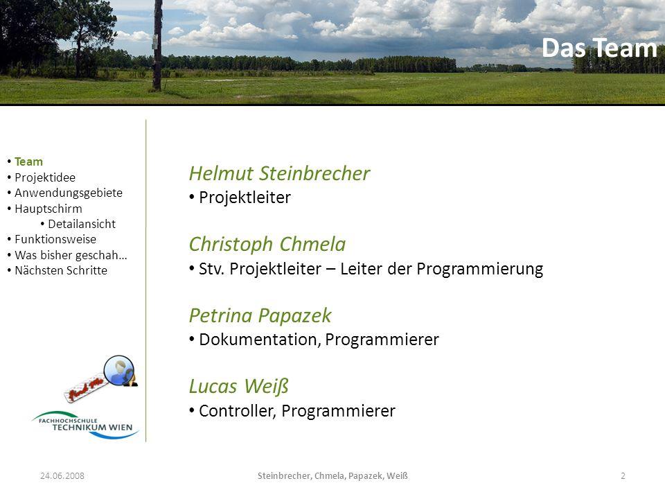 Steinbrecher, Chmela, Papazek, Weiß2 Helmut Steinbrecher Projektleiter Christoph Chmela Stv. Projektleiter – Leiter der Programmierung Petrina Papazek