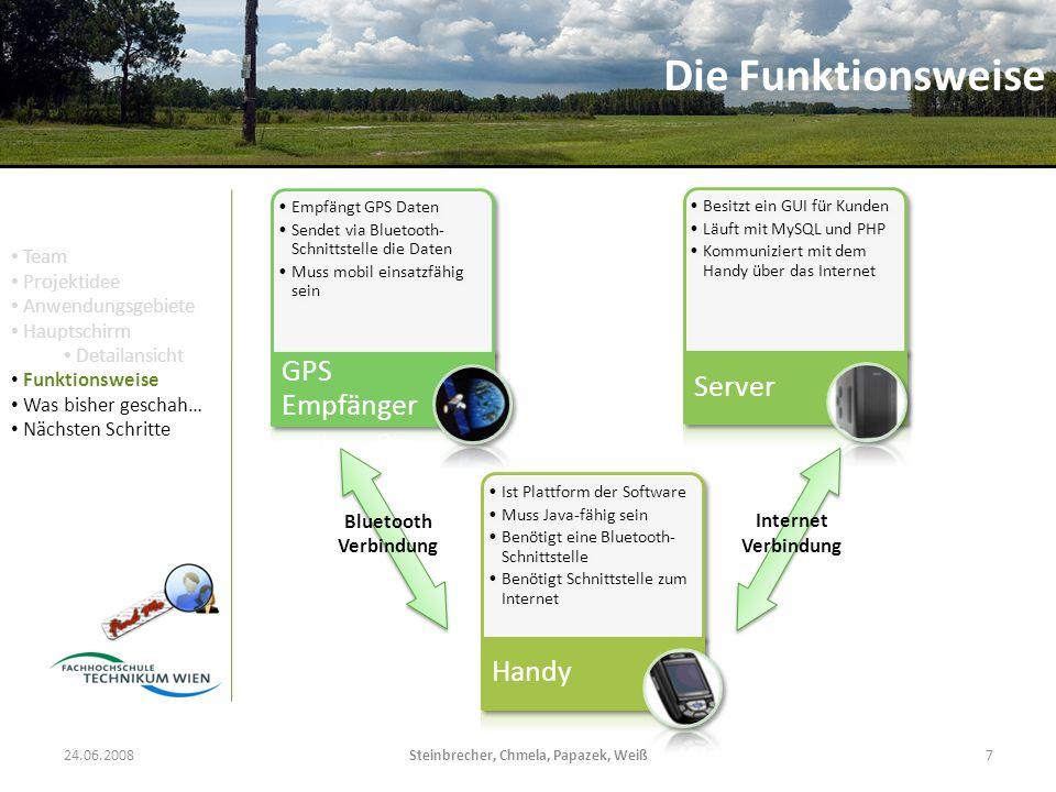 24.06.2008Steinbrecher, Chmela, Papazek, Weiß7 Empfängt GPS Daten Sendet via Bluetooth- Schnittstelle die Daten Muss mobil einsatzfähig sein GPS Empfänger Besitzt ein GUI für Kunden Läuft mit MySQL und PHP Kommuniziert mit dem Handy über das Internet Server Ist Plattform der Software Muss Java-fähig sein Benötigt eine Bluetooth- Schnittstelle Benötigt Schnittstelle zum Internet Handy Bluetooth Verbindung Internet Verbindung Die Funktionsweise Team Projektidee Anwendungsgebiete Hauptschirm Detailansicht Funktionsweise Was bisher geschah… Nächsten Schritte
