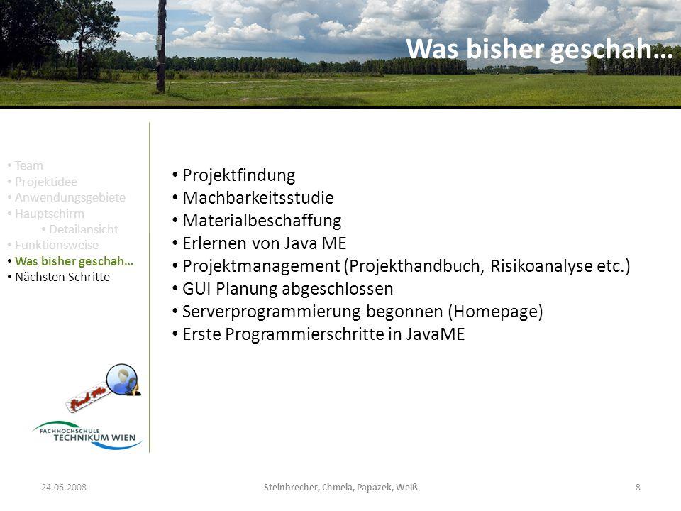 24.06.2008Steinbrecher, Chmela, Papazek, Weiß8 Was bisher geschah… Projektfindung Machbarkeitsstudie Materialbeschaffung Erlernen von Java ME Projektm
