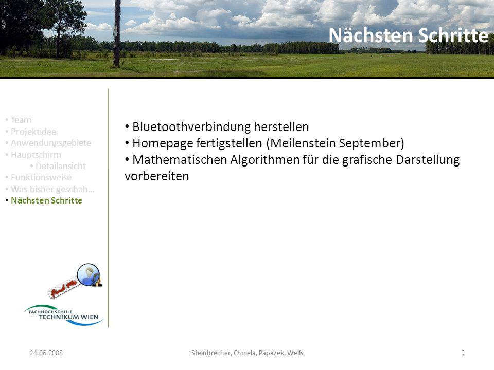 24.06.2008Steinbrecher, Chmela, Papazek, Weiß9 Nächsten Schritte Bluetoothverbindung herstellen Homepage fertigstellen (Meilenstein September) Mathema