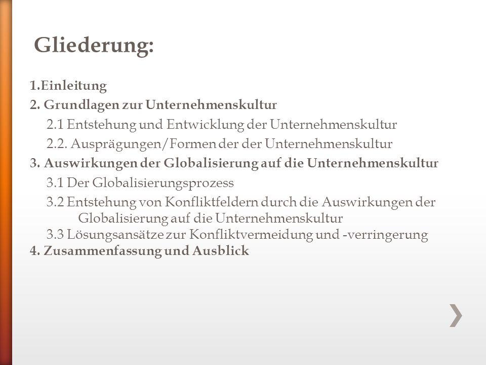 1.Einleitung 2. Grundlagen zur Unternehmenskultur 2.1 Entstehung und Entwicklung der Unternehmenskultur 2.2. Ausprägungen/Formen der der Unternehmensk